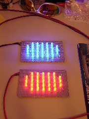 Rotes und blaues LED-Cluster